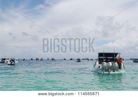 Andaman sea, Thailand - October 27, 2013: sea trip, plenty speed boats in open ocean