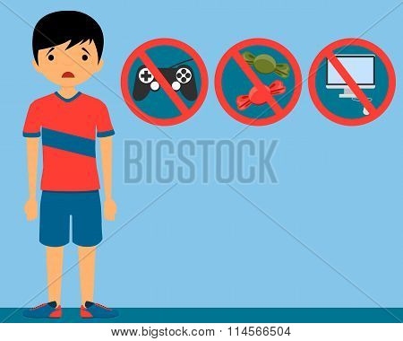 Punishment child. The ban on video games, sweet and a computer. Vector illustration