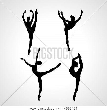 Creative silhouettes of 4 gymnastic girl. Art gymnastics or ballet dancing women, vector illustratio