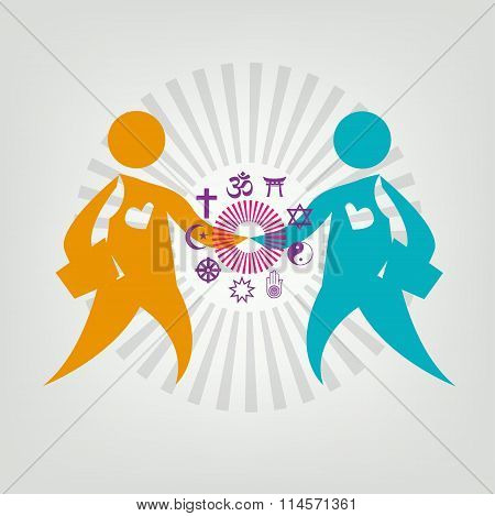 Interfaith Dialogue Flat concept. Editable Clip Art.
