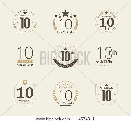 Ten years anniversary celebration logotype. 10th anniversary logo collection.