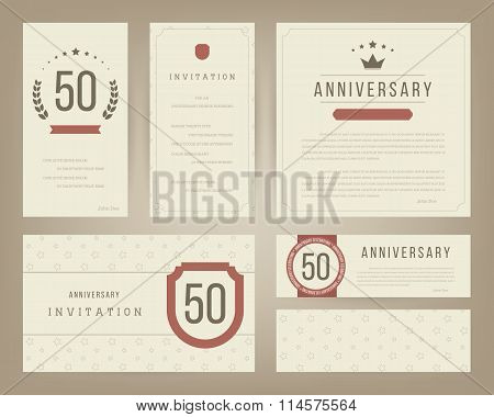 50th anniversary invitation cards template.