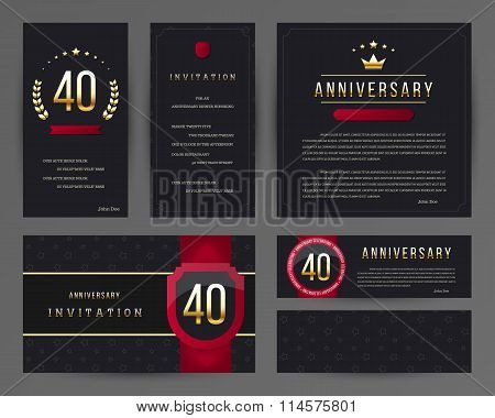 40th anniversary invitation cards template.