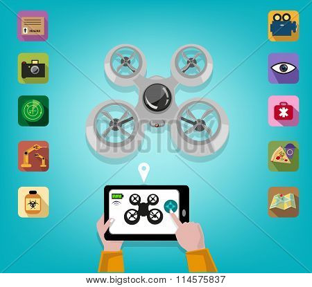 Hand operates a Drone using a Tablet or Smartphone with Icons of Features. Editable Clip Art.