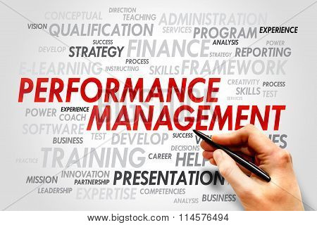 Performance Management word cloud business concept presentation background poster