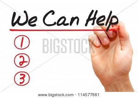 Hand Writing We Can Help List, Business Concept..