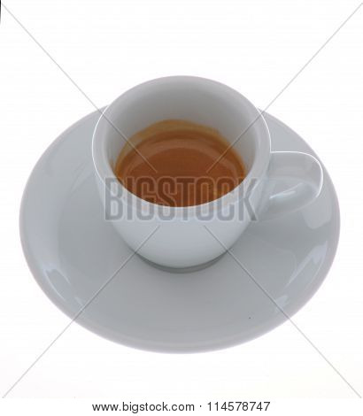 expresso coffee in a white cup isolated