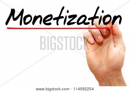 Hand writing Monetization with marker business concept poster