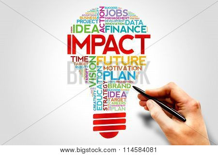 IMPACT bulb word cloud business concept presentation background poster