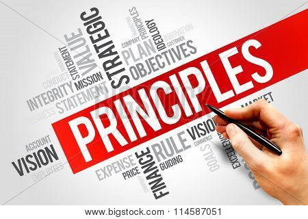 Principles word cloud business concept, presentation background