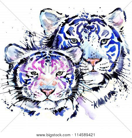 White tiger T-shirt graphics, watercolor tiger illustration with splash watercolor textured backgrou