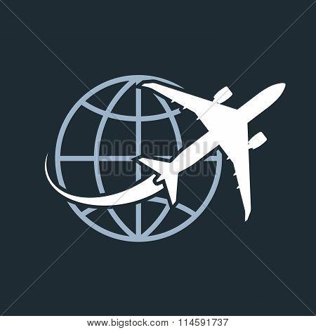 Travel around the world - airplane flying around the globe