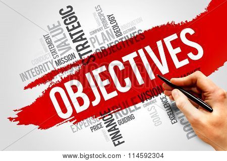 Objectives word cloud business concept, presentation background