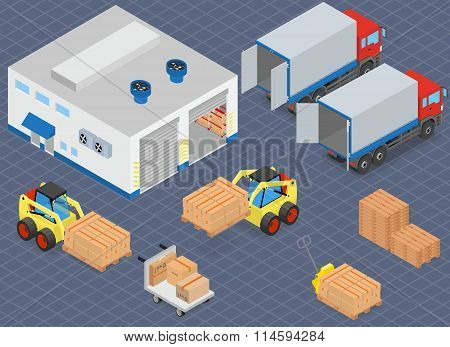 Loading or unloading a truck in the warehouse. Forklifts move the cargo.