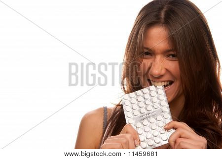 Pretty Angry Woman Bites Pack Of Tablets Pills