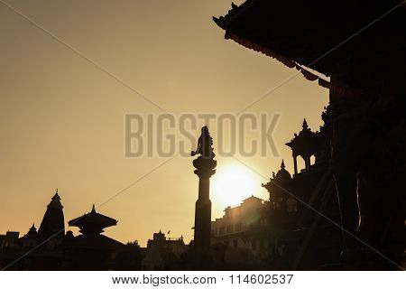 Silhouette Of Old Town In Nepal