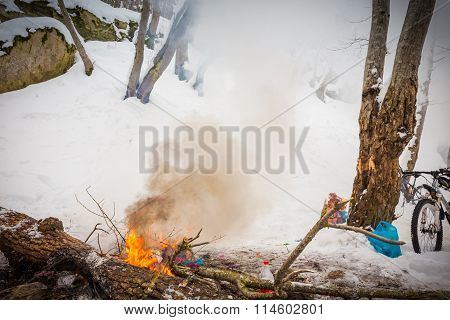 Burn Refuse In Nature, Cleaning And Waste Incineration After The Picnic