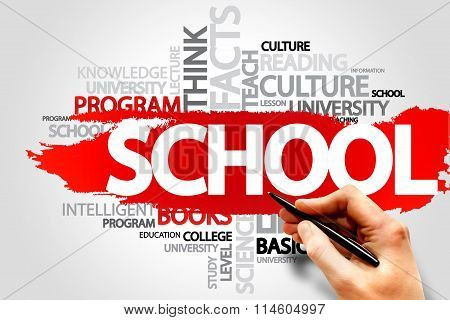 SCHOOL word cloud education concept, presentation background