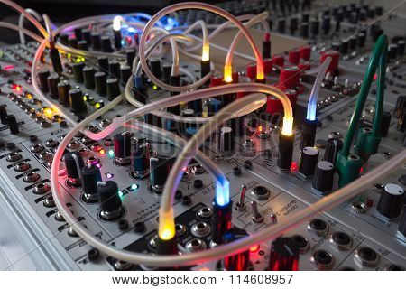 Analog Synthesizer , Blinking Lights On Music Equipment