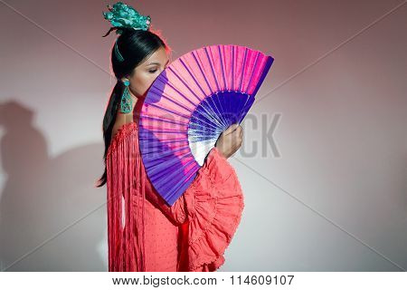 Pretty Young Flamenco Dancer In Beautiful Dress.