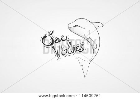 Whale Orca. Concept vector hand drawn illustration, logo. Design of simple icon with text. Sketch ar