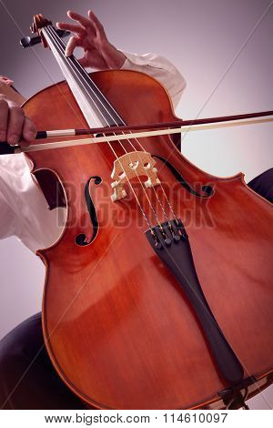 Cello player or cellist performing in an orchestra concept for music lessons, education and the arts