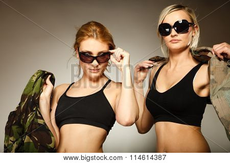 Two Women In Military Clothes Army Girls