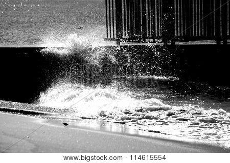 Splashing seawater