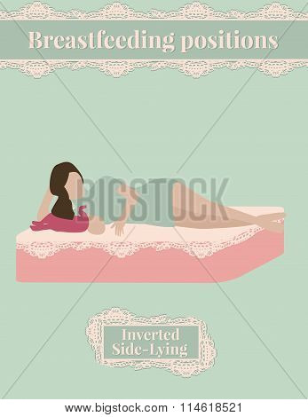 Breast feed position, inverted side lying, cute mother and baby collection, poster