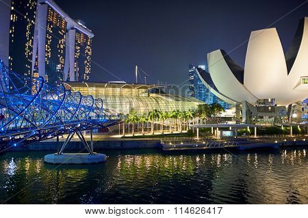 SINGAPORE - NOVEMBER 17, 2015: Marina Bay Sands at night. Marina Bay Sands is an integrated resort fronting Marina Bay in Singapore