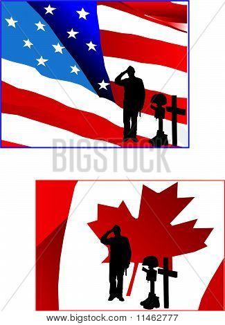 Soldier in front of American and a Canadian Flag saluting