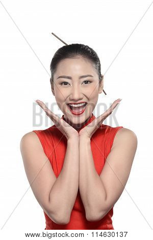 Chinese Girl In Cheongsam Dress
