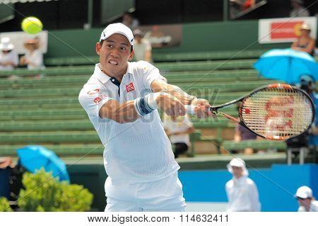 Kei Nishikori of Japan high backhand at Kooyong