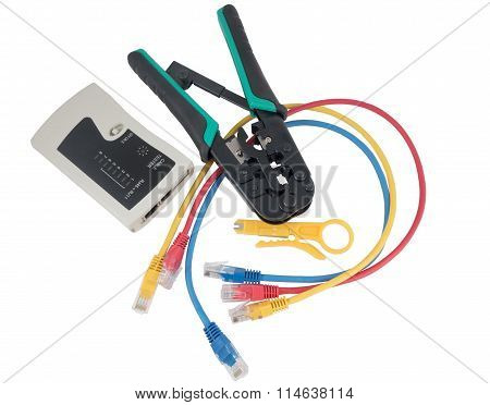 Network Tester And Crimping Tool With Rj45 Connector