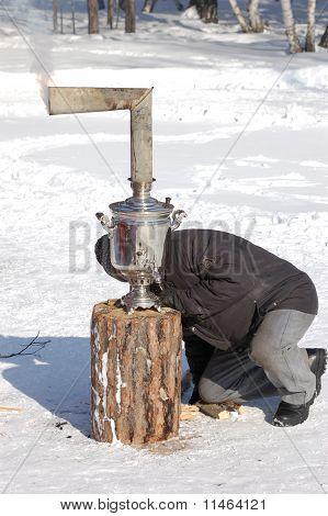 Firing Of Samovar At Shrovetide