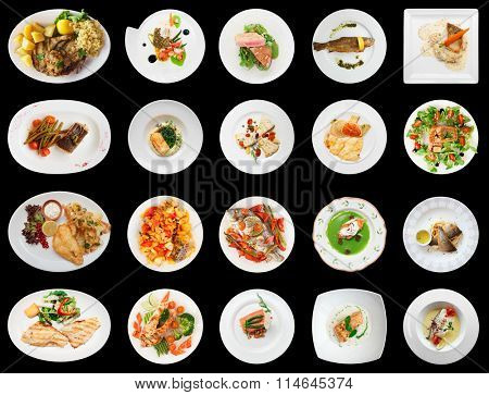 Set of main fish courses isolated on black background