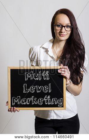 Multi Level Marketing Mlm - Young Businesswoman Holding Chalkboard