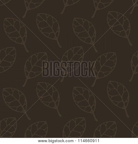 Brown Color Leaf Seamless Pattern