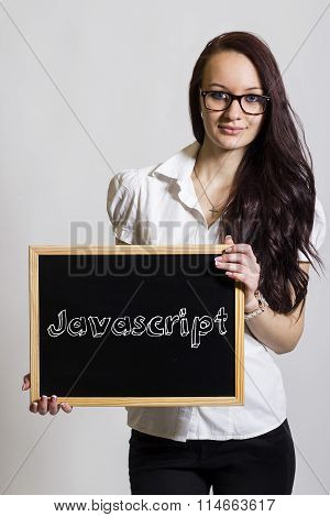 Javascript - Young Businesswoman Holding Chalkboard