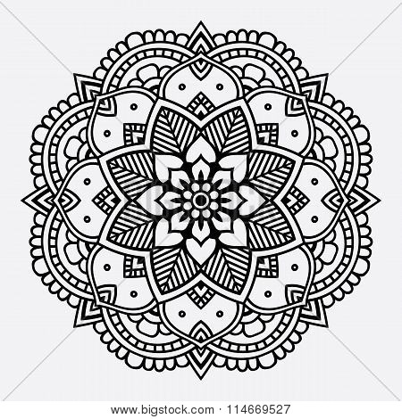 Simple black floral orient mandala on the white background