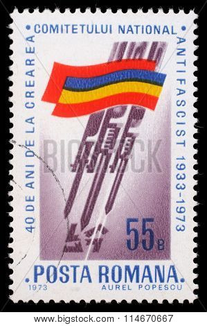 ROMANIA - CIRCA 1973: stamp printed by Romania, shows Romanian flag, Bayonets stabbing Swastika, circa 1973.