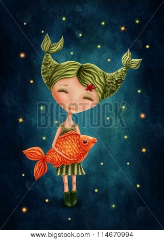 Illustration with a pisces astrological sign girl poster