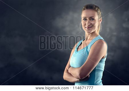 Athletic Blond Woman Wearing Tank Top