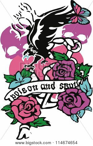 Skull Rose Vector Illustration Design Art
