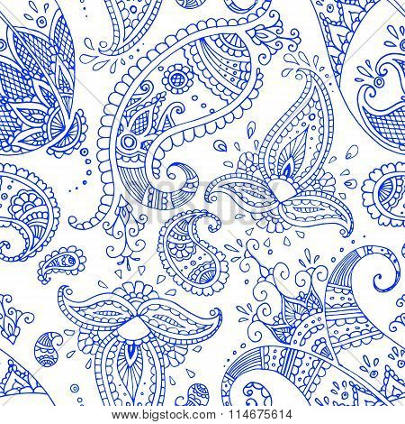 Blue Line Indian Paisley Pattern