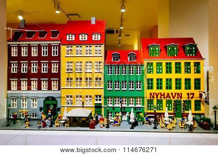 COPENHAGEN, DENMARK - JANUARY 3, 2015: Lego figurines and buildings in the Lego store showing Nyhavn