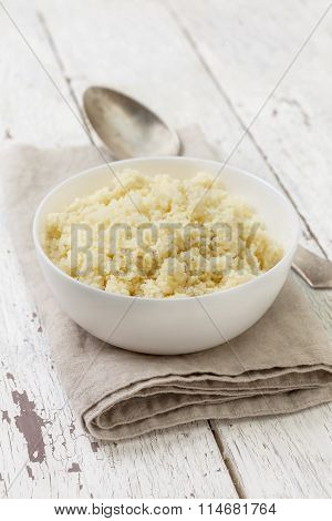 Cooked Couscous In A White Bowl
