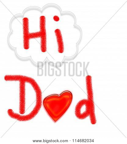 HI DAD card - child's artwork on white background