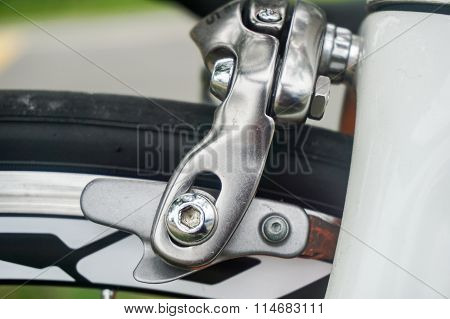 Closeup of Road Bike brakes. Light, powerful and aero brake upgrade.