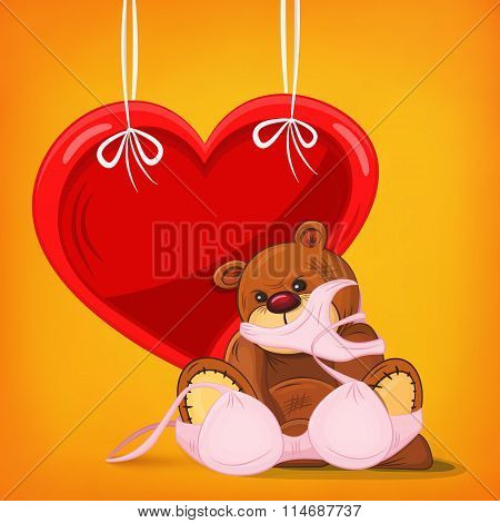Sad teddy bear gift with pink underwear and heart frame